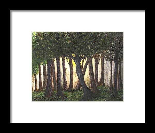 Nature Framed Print featuring the painting Imagined Forest by Carmen Paris