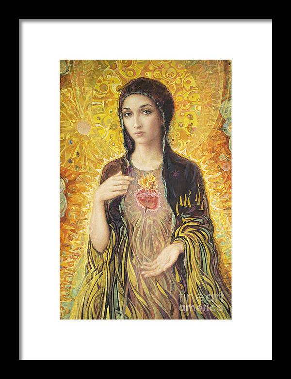 Immaculate Heart Of Mary Framed Print featuring the painting Immaculate Heart of Mary olmc by Smith Catholic Art