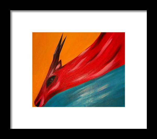 Nature Framed Print featuring the painting Impala in red by Joseph Ferguson