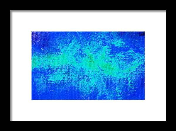 Abstract Framed Print featuring the painting Impassive Aqua Blue by L J Smith