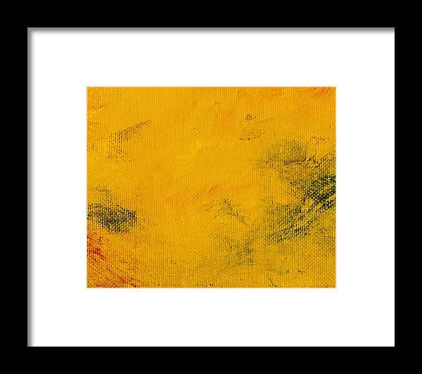 Abstract Framed Print featuring the painting Impression Golden by L J Smith