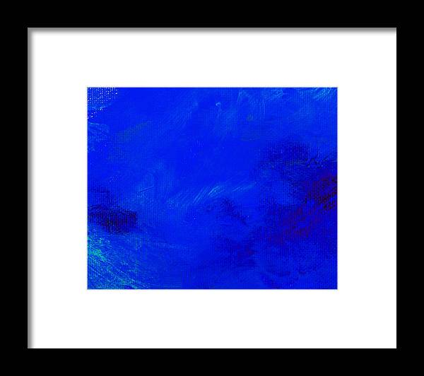 Abstract Framed Print featuring the painting Impression Midnight Blue by L J Smith