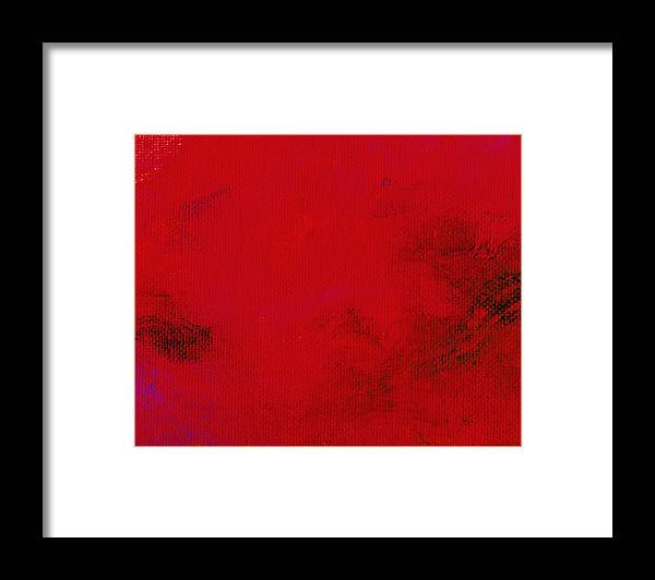 Abstract Framed Print featuring the painting Impression Red by L J Smith