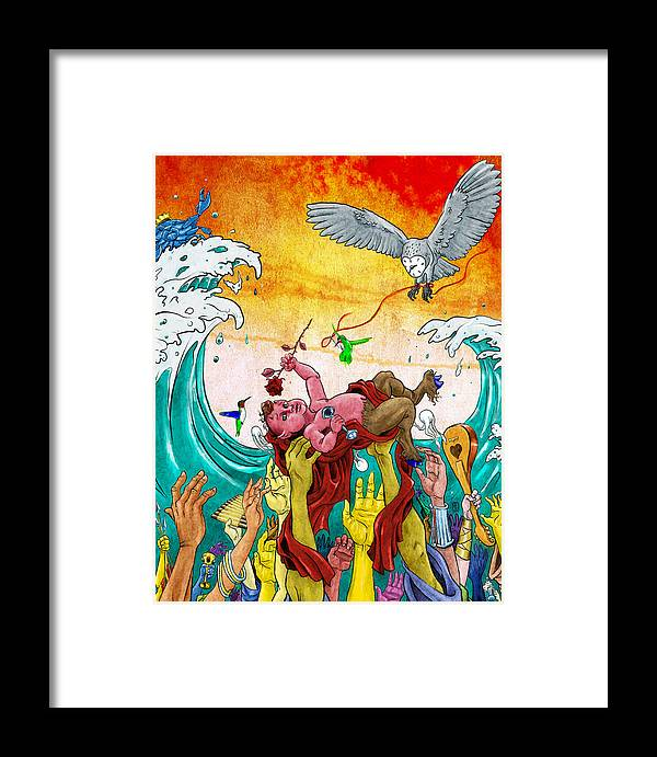 Pan Framed Print featuring the mixed media In Celebration Of by Baird Hoffmire