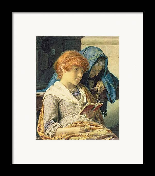 In Church Framed Print featuring the painting In Church by Luigi da Rios