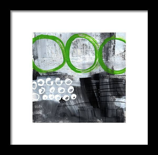Abstract Framed Print featuring the painting In Circles- Abstract Painting by Linda Woods