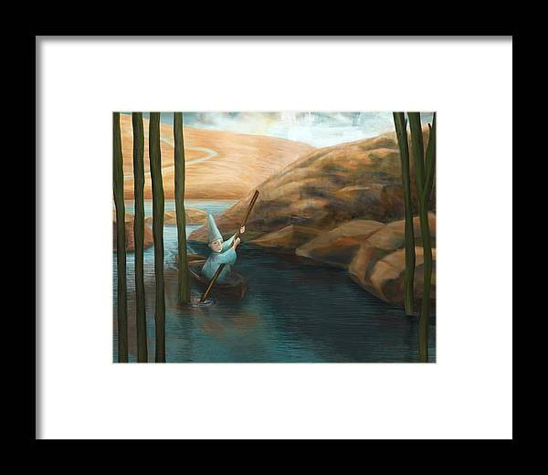 Water Framed Print featuring the digital art In His Boat by Catherine Swenson