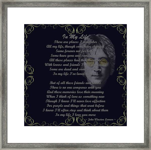 Beatles Lyrics Framed Art Prints Fine Art America