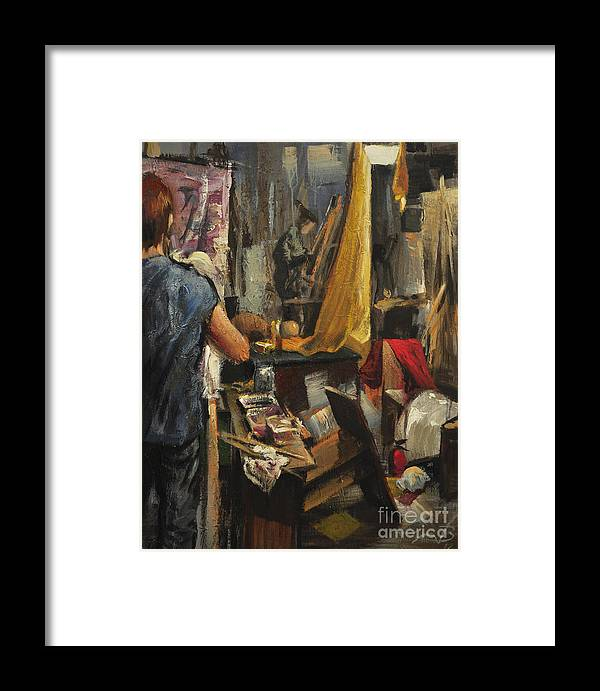 Oil Painting Framed Print featuring the painting In Our Studio by Alireza Bidari