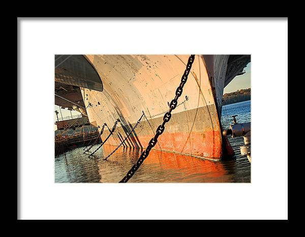 Carrier Framed Print featuring the photograph In Port by Michael Porchik
