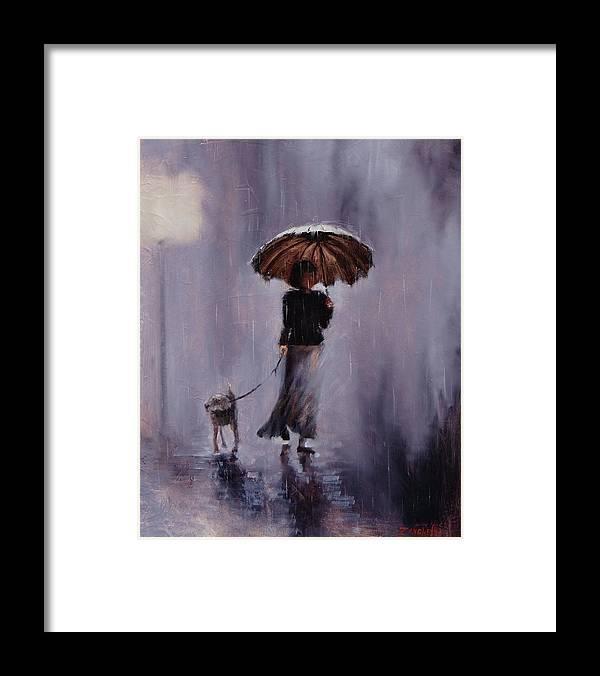 Laura Zanghetti Framed Print featuring the painting In Rain Or Shine by Laura Lee Zanghetti