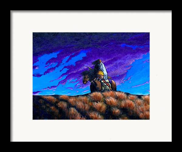 American Indian Framed Print featuring the painting In Search Of The Vanished by Joe Triano