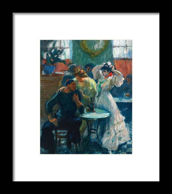 Ricard Canals Framed Print featuring the painting In The Bar by Ricard Canals