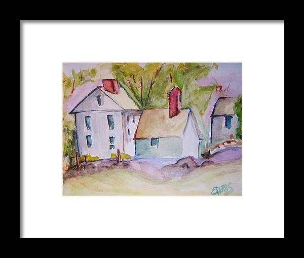 Barn Framed Print featuring the painting In The Country by Elaine Duras