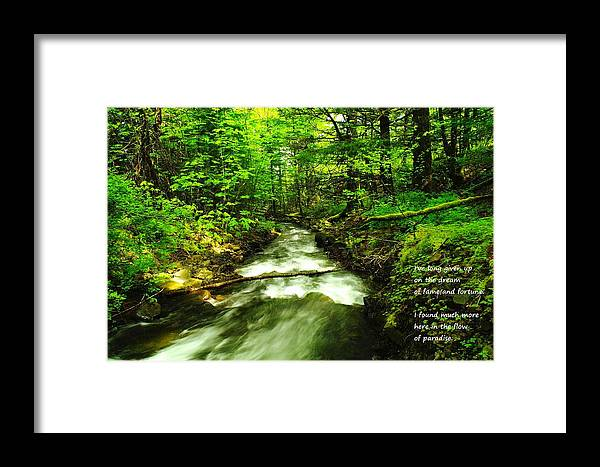 Water Framed Print featuring the photograph In The Flow by Jeff Swan
