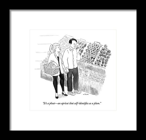 Identifying Framed Print featuring the drawing In The Produce Section Of A Grocery Store by Emily Flake