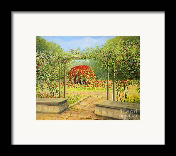 Art Framed Print featuring the painting In The Rose Garden by Kiril Stanchev