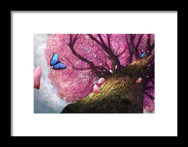 Cherry Blossom Framed Print featuring the digital art In The Shadow Of Peace by Steve Goad
