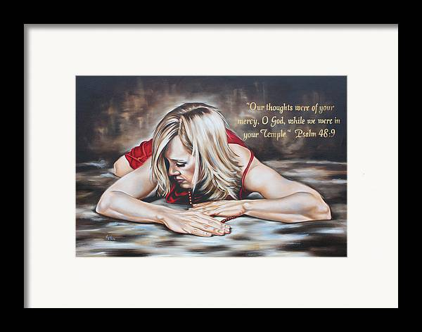 Woman Framed Print featuring the painting In Thought by Ilse Kleyn