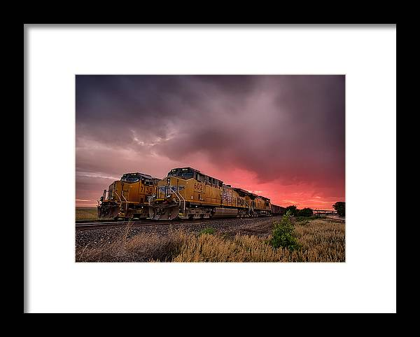 Train Framed Print featuring the photograph In Waiting by Thomas Zimmerman