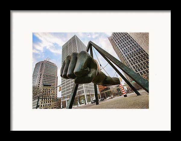 Joe Framed Print featuring the photograph In Your Face - Joe Louis Fist Statue - Detroit Michigan by Gordon Dean II