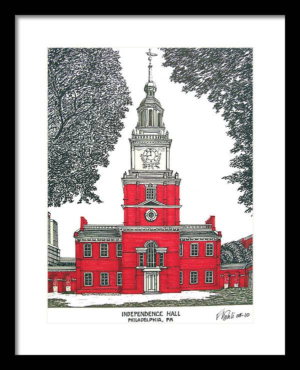 Ink Drawings Framed Print featuring the drawing Independence Hall by Frederic Kohli