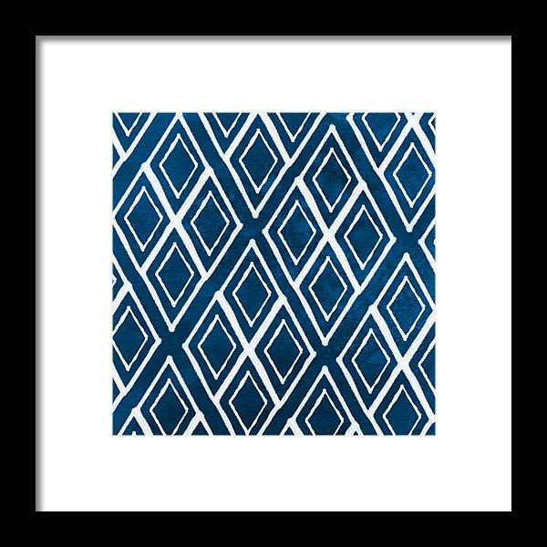 Indigo And White Framed Print featuring the painting Indgo and White Diamonds Large by Linda Woods
