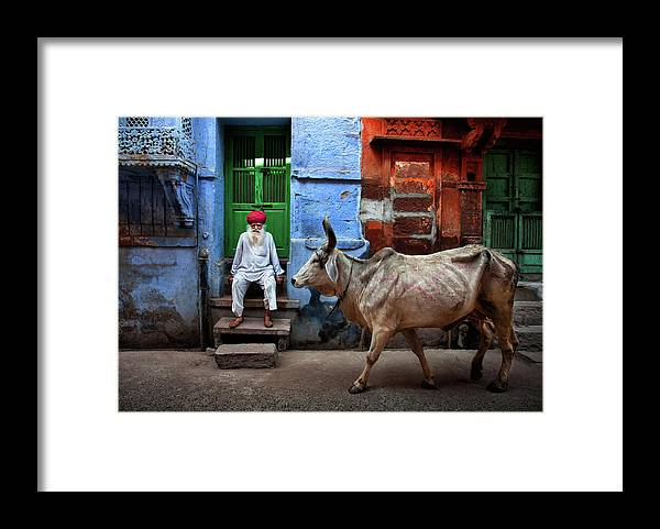 Jodhpur Framed Print featuring the photograph India by Fadhel Almutaghawi