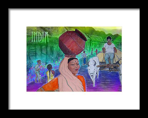 India Framed Print featuring the digital art India by Karen R Scoville