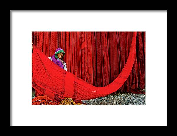 Expertise Framed Print featuring the photograph India, Rajasthan, Sari Factory by Tuul & Bruno Morandi