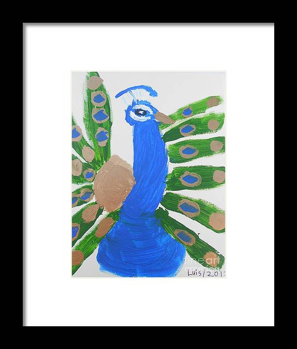 Bird Framed Print featuring the painting Indian Blue Peacock by Epic Luis Art