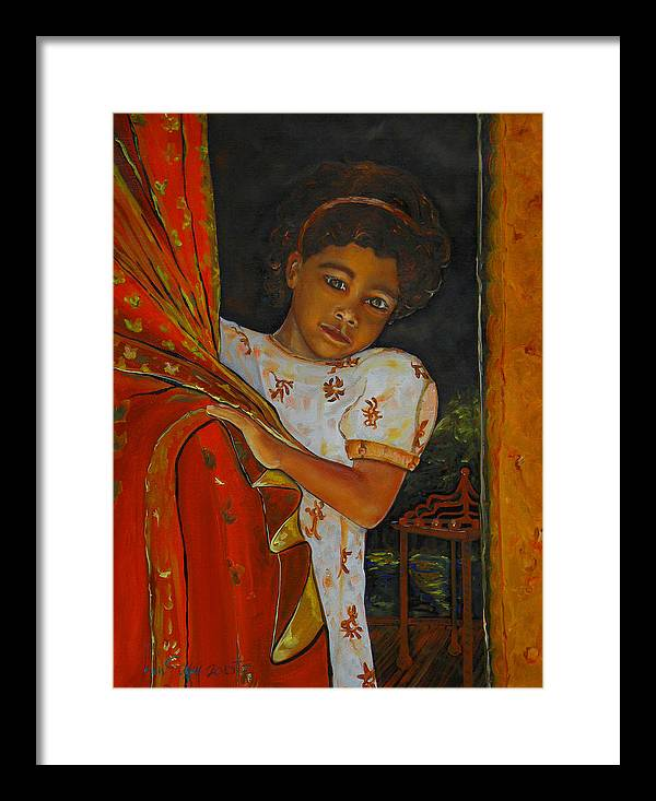 Oil On Canvas Framed Print featuring the painting Indian Girl by Ken Caffey