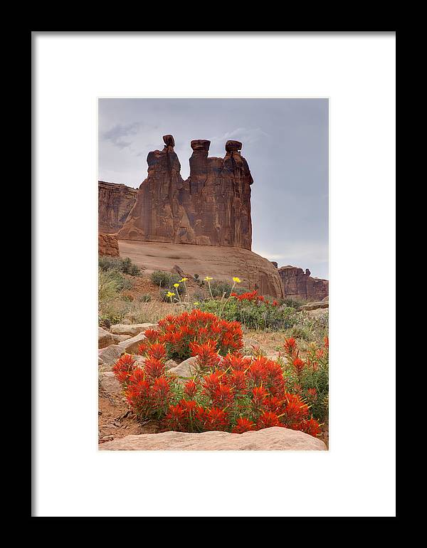 Red Rock Framed Print featuring the photograph Indian Paintbrush And The Three Gossips by Duncan Mackie