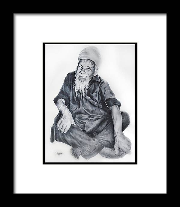 Charcoal Framed Print featuring the drawing Indian Priest by Lino Borgueta