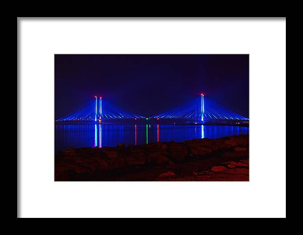 Indian River Bridge Framed Print featuring the photograph Indian River Inlet Bridge After Dark by Bill Swartwout Fine Art Photography
