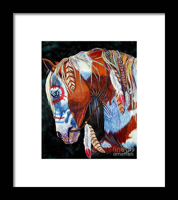 Indian Framed Print featuring the painting Indian War Pony by Amanda Hukill