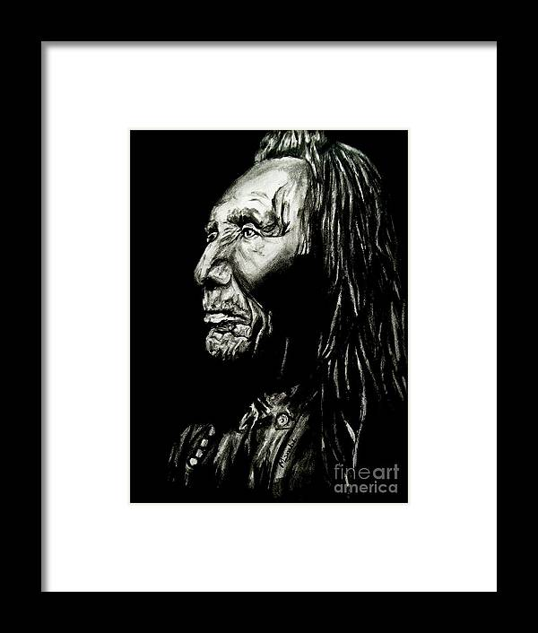 Indian Warrior Framed Print featuring the drawing Indian Warrior by Michael Grubb