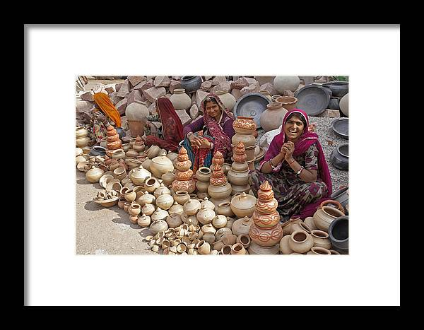 India Framed Print featuring the photograph Indian Women Selling Pottery by Michele Burgess