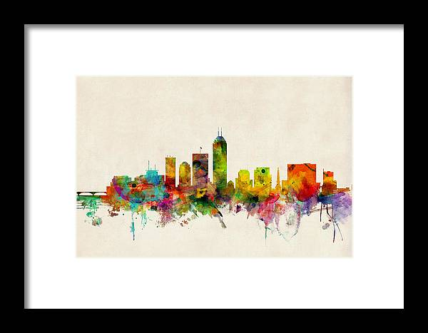 Watercolour Framed Print featuring the digital art Indianapolis Indiana Skyline by Michael Tompsett