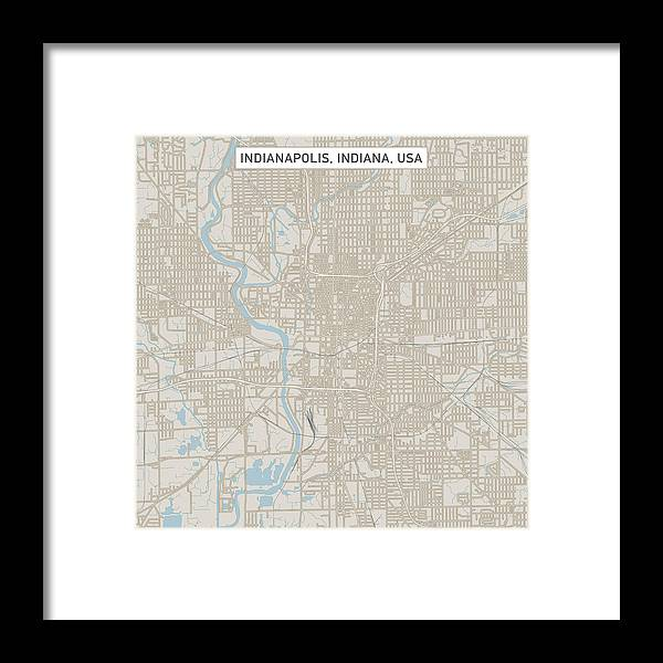 Indianapolis Indiana Us City Street Map Framed Print By Frankramspott - Indianapolis-on-us-map