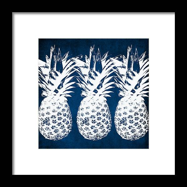 Indigo Framed Print featuring the painting Indigo and White Pineapples by Linda Woods