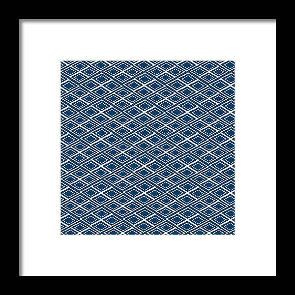 Indigo And White Framed Print featuring the painting Indigo And White Small Diamonds- Pattern by Linda Woods