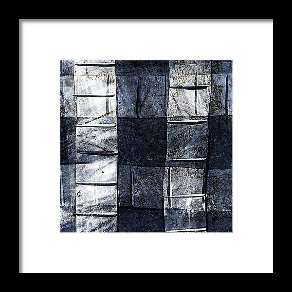 Blue Framed Print featuring the mixed media Indigo Squares 2 Of 5 by Carol Leigh
