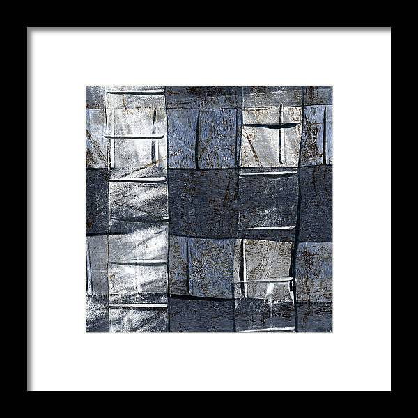 Blue Framed Print featuring the mixed media Indigo Squares 3 Of 5 by Carol Leigh