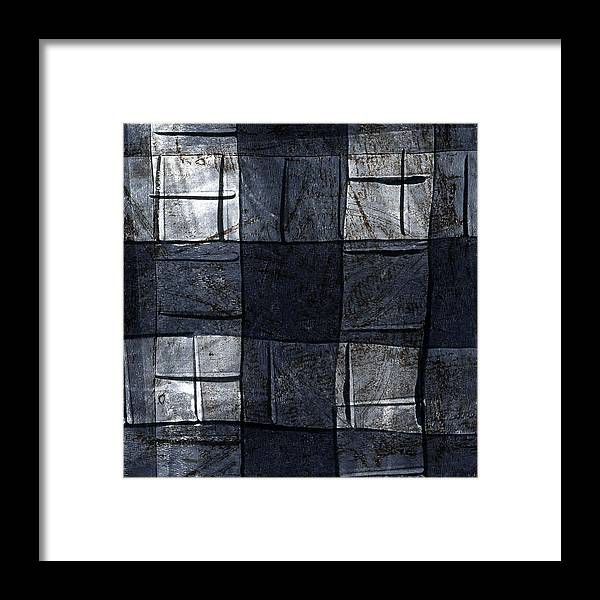 Blue Framed Print featuring the mixed media Indigo Squares 4 Of 5 by Carol Leigh