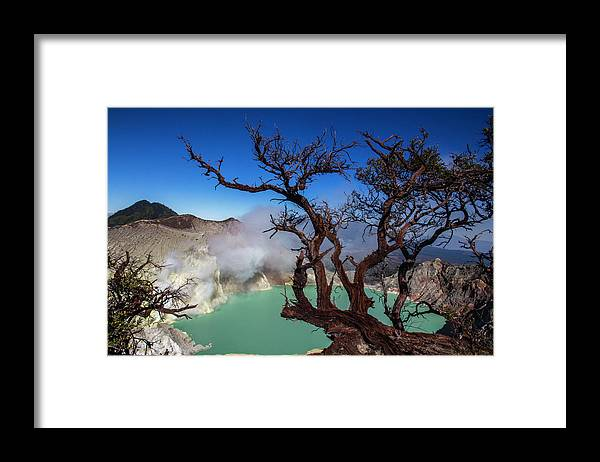 Crater Lake Framed Print featuring the photograph Indonesia, Java, Kawah Ijen by Andreas Kunz