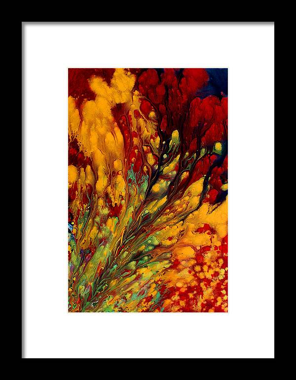 Wall Paintings Framed Print featuring the painting Inferno Expansion by Nandita Albright