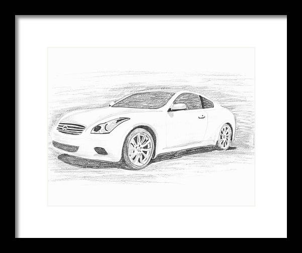 Pencil Drawings Framed Print featuring the drawing Infinity G37 Coupe by John Jones