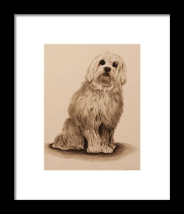 Dog Framed Print featuring the painting Ink Dog by Michelle Miron-Rebbe
