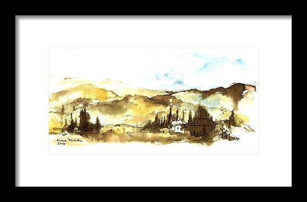 Ink Landscape Framed Print featuring the painting Ink Landscape by Karina Plachetka